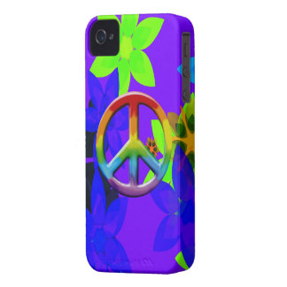 Retro 60's Flower Power Peace Sign Art iPhone Case iPhone 4 Cover