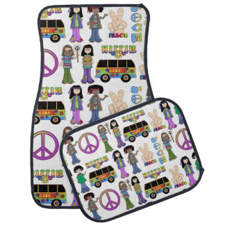 Retro 60s Hippie Love Peace Floor Mat