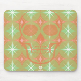 Retro 60s pattern with Skull design Mouse Pad