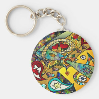 Retro 60s Psychedelic Cycle Of Life Gifts Apparel Basic Round Button Key Ring