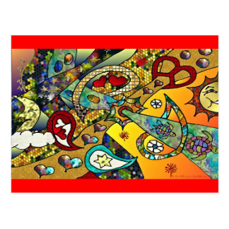 Retro 60s Psychedelic Cycle Of Life Gifts Apparel Postcard