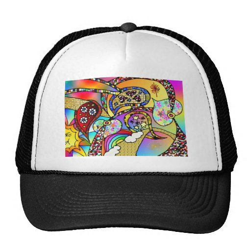 Retro 60s Psychedelic Hearts Paisley Gifts Apparel Cap