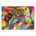 Retro 60s Psychedelic Hearts Paisley Gifts Apparel Greeting Card