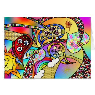 Retro 60s Psychedelic Hearts Paisley Gifts Apparel Card