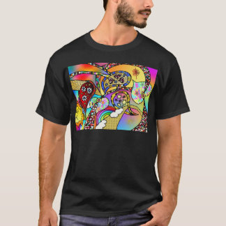 Retro 60s Psychedelic Hearts Paisley Gifts Apparel T-Shirt