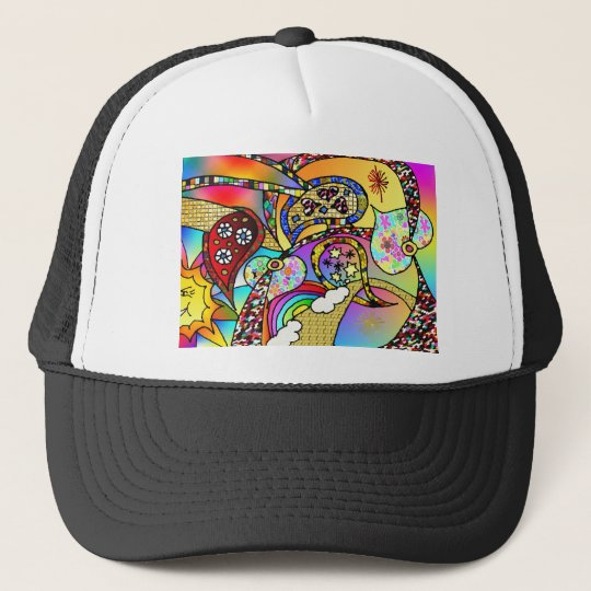 Retro 60s Psychedelic Hearts Paisley Gifts Apparel Trucker Hat