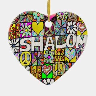 Retro 60s Psychedelic Shalom LOVE Ornament