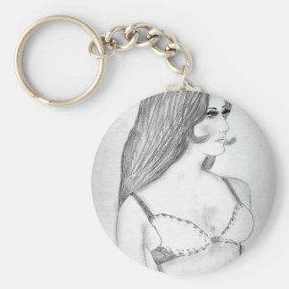 Retro 70s Bikini Girl Basic Round Button Key Ring