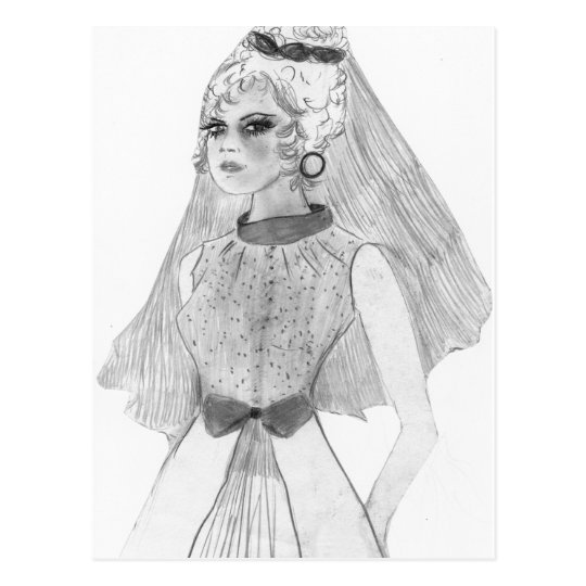 Retro 70s Bride Postcard