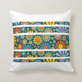 Retro 70s Flower Power Stripes Cushion