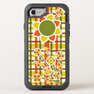 Retro 70s Flowers Orange Plaid Groovy Floral OtterBox Defender iPhone 8/7 Case