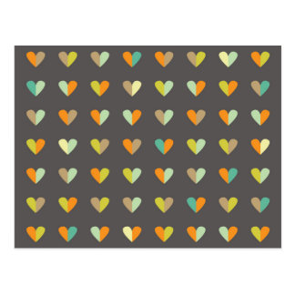 Retro 70s Heart Pattern Postcard