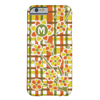 Retro 70s Orange Plaid Floral Monogram Barely There iPhone 6 Case