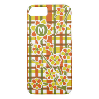 Retro 70s Orange Plaid Floral Monogram iPhone 7 Case