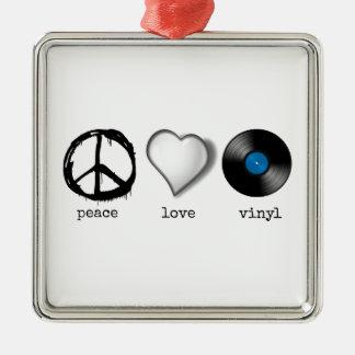 Retro 70s Peace Love Vinyl Silver-Colored Square Decoration