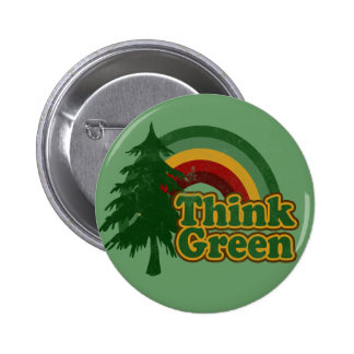 Retro 70s Rainbow, Think Green 6 Cm Round Badge