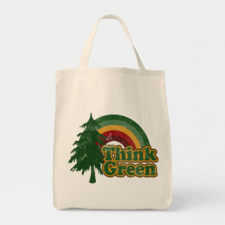Retro 70s Rainbow, Think Green Grocery Tote Bag