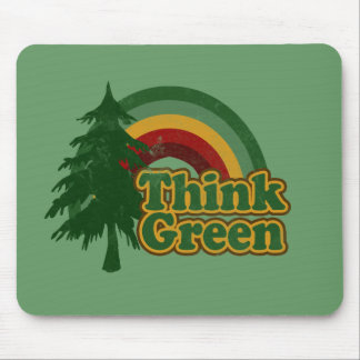 Retro 70s Rainbow Think Green Mousepad