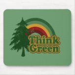 Retro 70s Rainbow, Think Green Mousemats