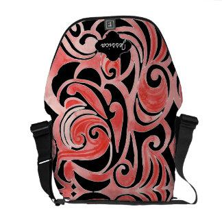 Retro 70s Swirl Chalkboard Modern Tribal Design Messenger Bags