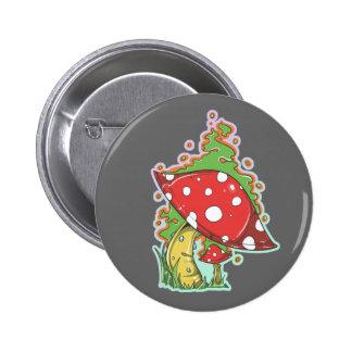 Retro 70's Tattoo Mushroom 6 Cm Round Badge