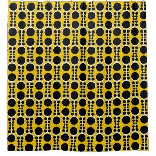 Retro 70s Wallpaper Vintage Yellow Mustard Shower Curtain