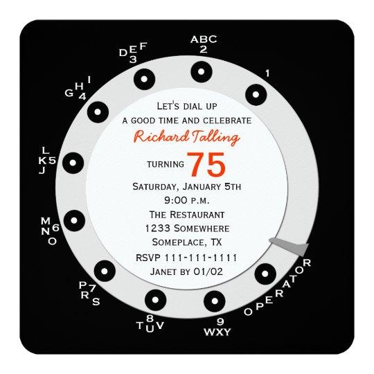 Retro 75th Birthday Party Invitation Rotary Dial