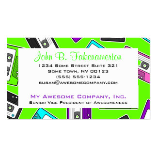 Retro 80 s Mixtape Print - Lime Green Business Card Template