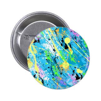 "Retro 80""s Paint Splatter - Blue 6 Cm Round Badge"