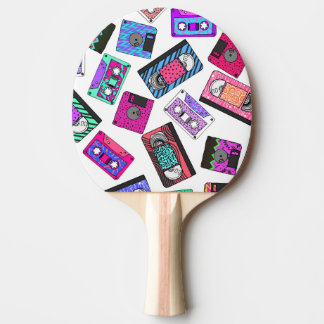 Retro 80's 90's Neon Patterned Cassette Tapes Ping Pong Paddle