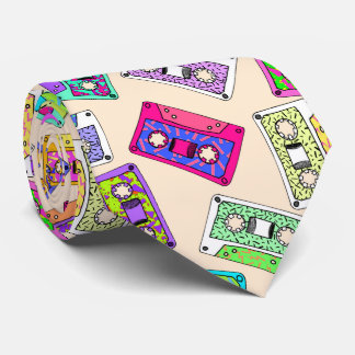Retro 80's 90's Neon Patterned Cassette Tapes Tie