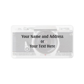 Retro 80s Camera Effect Name and Address Label