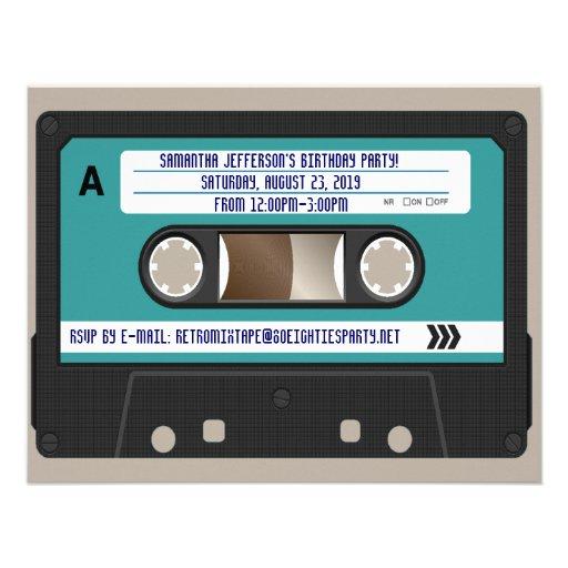 Retro 80s Cassette Mixtape Personalized Custom Invite