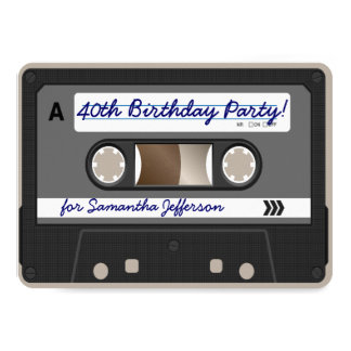 Retro 80s Cassette Tape 40th Birthday Invitation