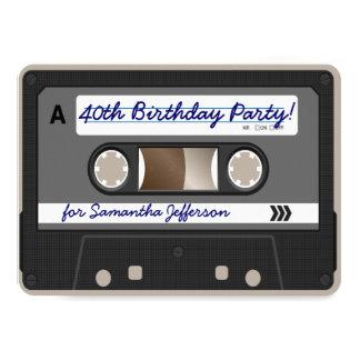 """Retro 80s Cassette Tape 40th Birthday Invitation 4.5"""" X 6.25"""" Invitation Card"""