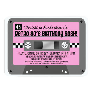 Retro 80's Cassette Tape Party Invitations