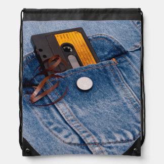 Retro 80's Design - Audio Cassette Tape Drawstring Bag