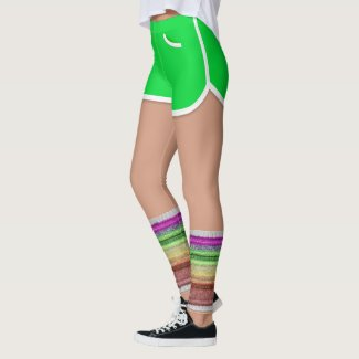 Retro 80s Leg Warmers Green Sport Shorts Leggings