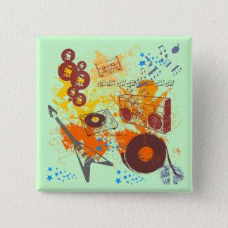 Retro 80's Music 15 Cm Square Badge