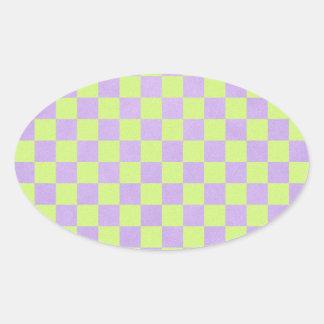 retro 80's neon yellow green and purple checkered oval sticker