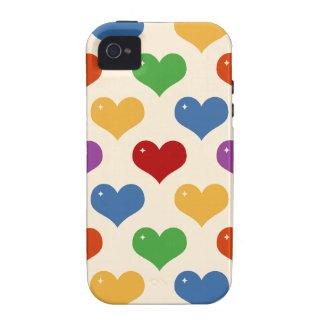 Retro 80s rainbow multi bubble hearts pattern case iPhone 4 cover