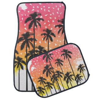 Retro 80's Summer Palm Trees Geometric Triangles Car Mat