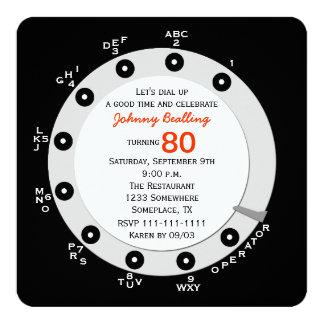 Retro 80th Birthday Party Invitation Rotary Dial