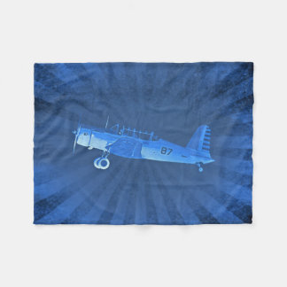 Retro #87 Airplane Blue Fleece Blanket