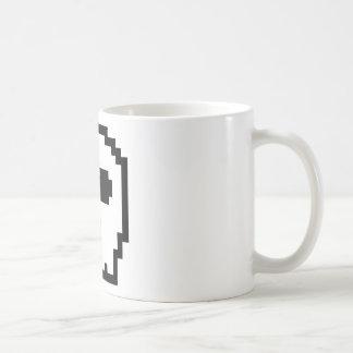 Retro 8-bit Skull Basic White Mug