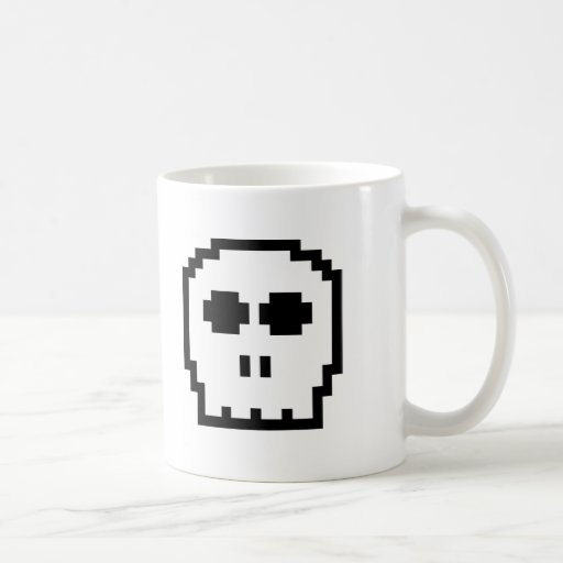 Retro 8-bit Skull Coffee Mug