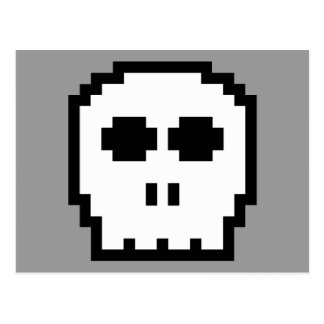 Retro 8-bit Skull Post Card