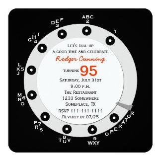 "Retro 95th Birthday Party Invitation Rotary Dial 5.25"" Square Invitation Card"
