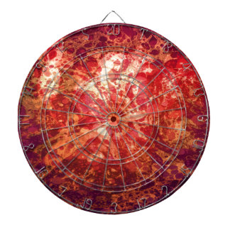 Retro Abstract Art Swirls Bubbles Red Purple Gold Dartboard With Darts
