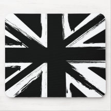 Retro abstract black union jack design mouse pads